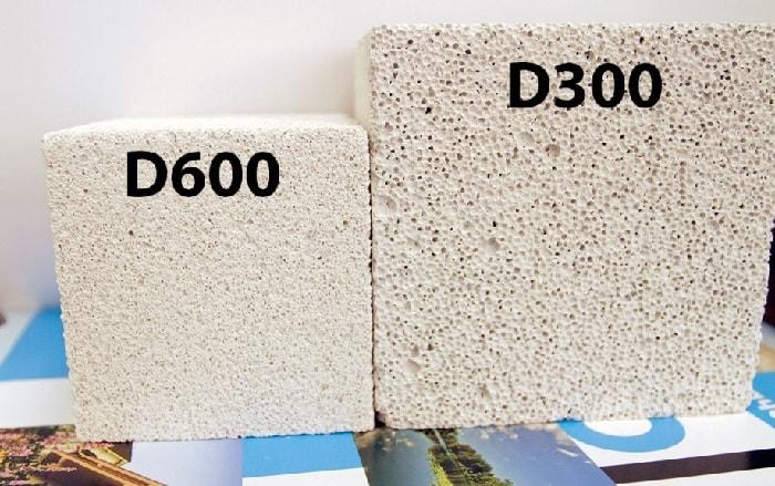 Сравнение пор в газобетоне разной плотности